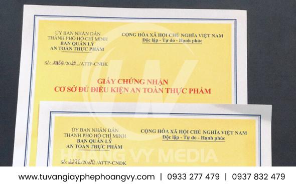 Giấy chứng nhận an toàn thực phẩm Quận Phú Nhuận – TPHCM