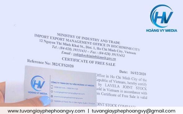 Giấy Certificate Of Free Sale lưu hành tự do sản phẩm
