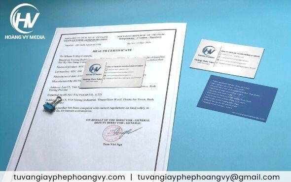 Đăng ký Health Certificate xuất khẩu sản phẩm 2021