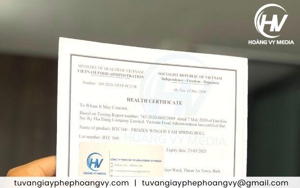 Giấy Health Certificate cho thực phẩm xuất khẩu