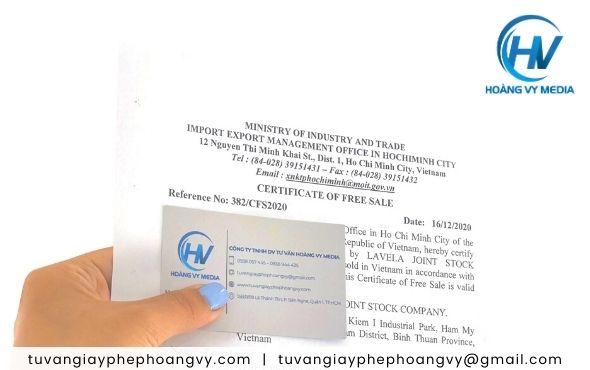 Địa chỉ uy tín làm giấy lưu hành tự do sản phẩm