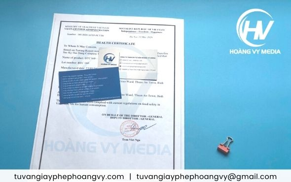 Mẫu (HC) chứng nhận y tế health certificate sản phẩm
