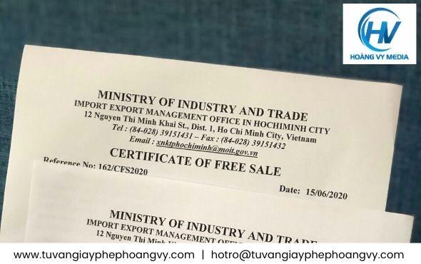 CFS giấy chứng nhận lưu hành tự do sản phẩm Rong nho xuất khẩu