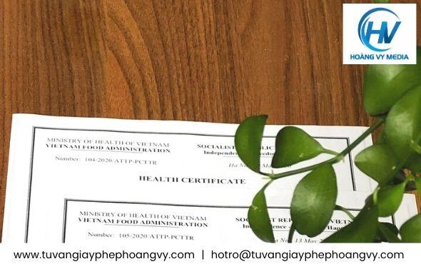 Giấy health certificate chứng nhận y tế sản phẩm Rong nho