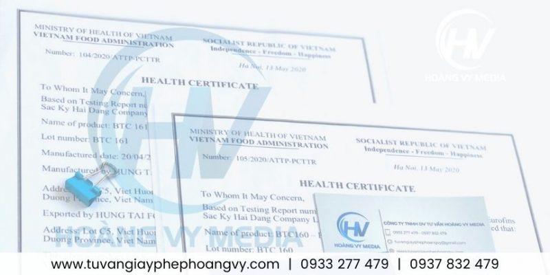 Đăng ký giấy Health Certificate (HC) các loại cà phê