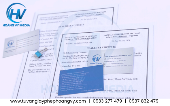 Health Certificate chứng nhận y tế thực phẩm xuất khẩu