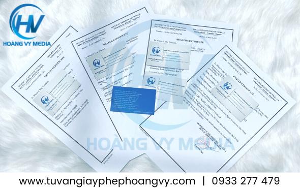Giấy chứng nhận y tế Health Certificate thực phẩm xuất khẩu