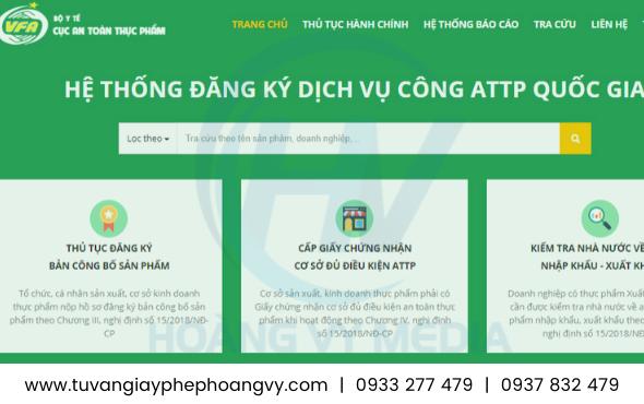 Trang website đăng ký nộp hồ sơ Health Certificate trực tuyến